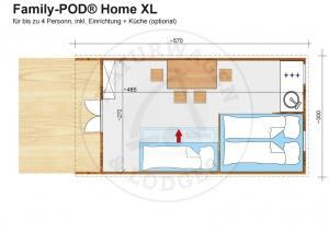 Naturwagen & Lodges, Grundriss - Family-POD® Home XL