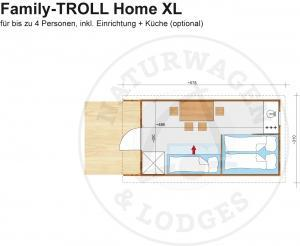 Foto - Naturwagen & Lodges, Grundriss - Family-TROLL Home XL